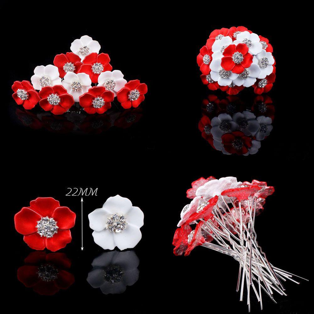 Arbeiten Sie neue Braut-Rhinestone-rote weiße Blumen-Haar-Nadel für Strand-themenorientierte Hochzeit, Haar-Stock-Frauen-Haar-Zusatz-Haarteil 20 Stück um