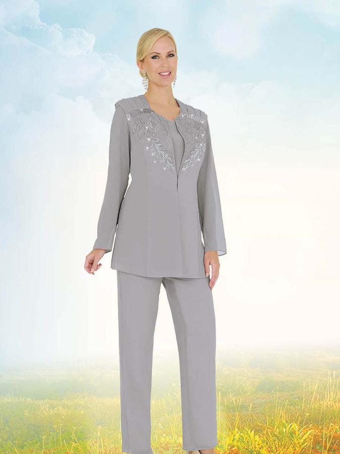Grey Long Sleeves Mother Of Bride Pant Suits 2015 Beading