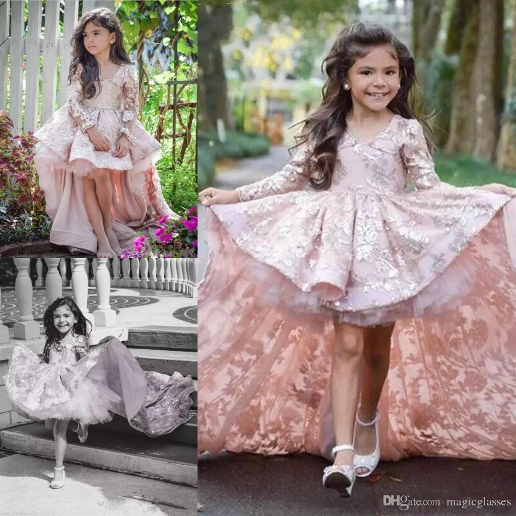 High Low Ball Gowns Girls Pageant Dresses 2018 Lace Appliques V Neck ...