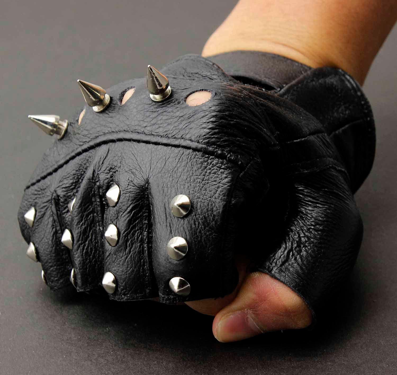 Mens leather gloves ireland - 2017 Men S Leather Metal Stud Biker Punk Rocker Driving Motorcycle Fingerless Gloves From Rocker_vogue 13 87 Dhgate Com