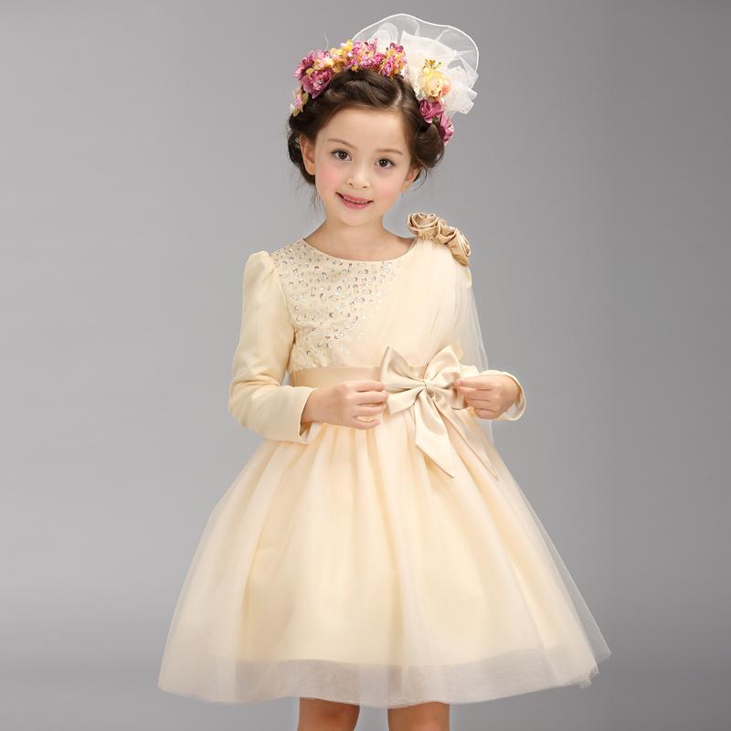 2016 New Design Champagne Flower Girl Dresses With Sleeves And Bow ...