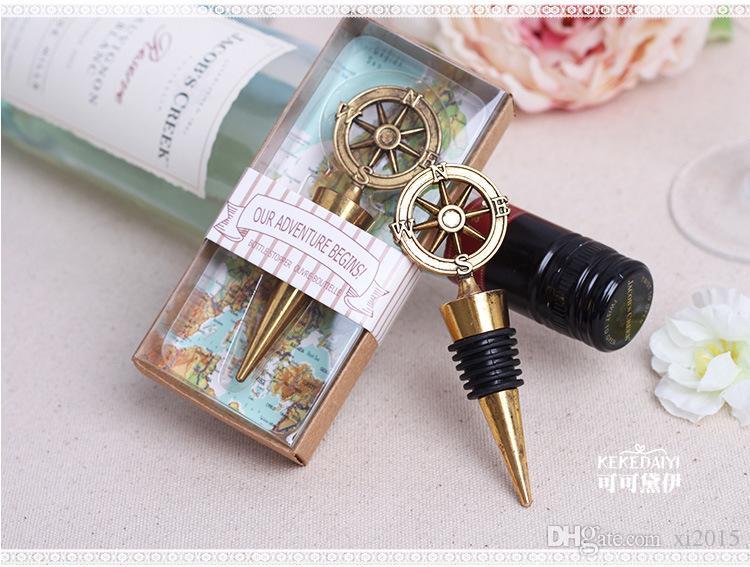 50 pçs / lote favores do casamento presentes bronze vintage bússola rolha de garrafa de vinho lembrança lembrança presente
