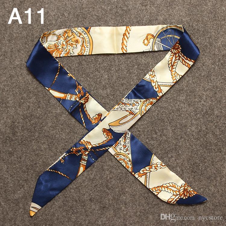 New Silk Twill Lenços para Bag Handle impressas lenços de fita pequeno para Bag alça da bolsa Parte Acessórios