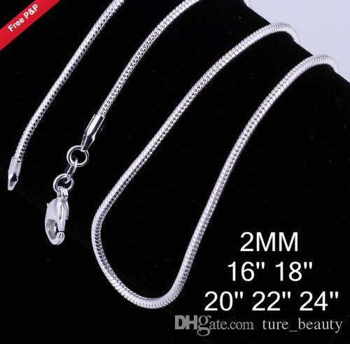 2017 new ! 3 size available !2MM/2.4M/1MM snake Chain sterling silver Necklace 16 18 20 22 24 INCH fashion jewelry /
