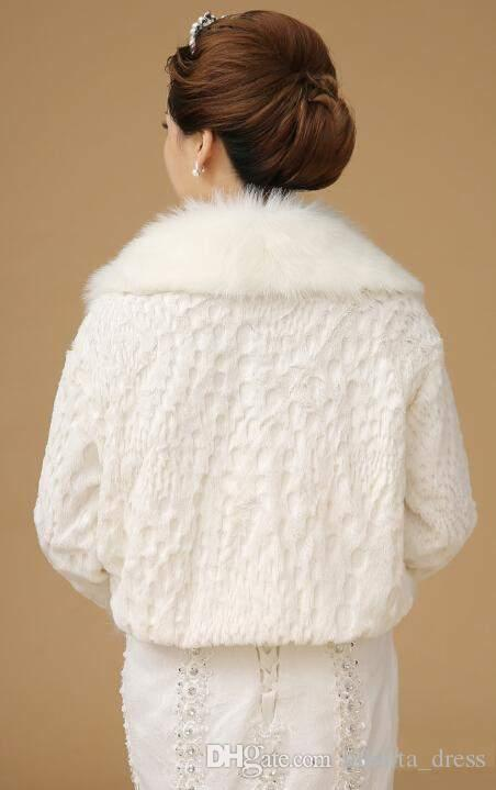 Avorio Faux pelliccia di pelliccia ha involucro nuziale Shrug Bolero Bridal Scialle da sposa maniche lunghe Abiti da sposa Abiti da uomo a buon mercato in magazzino