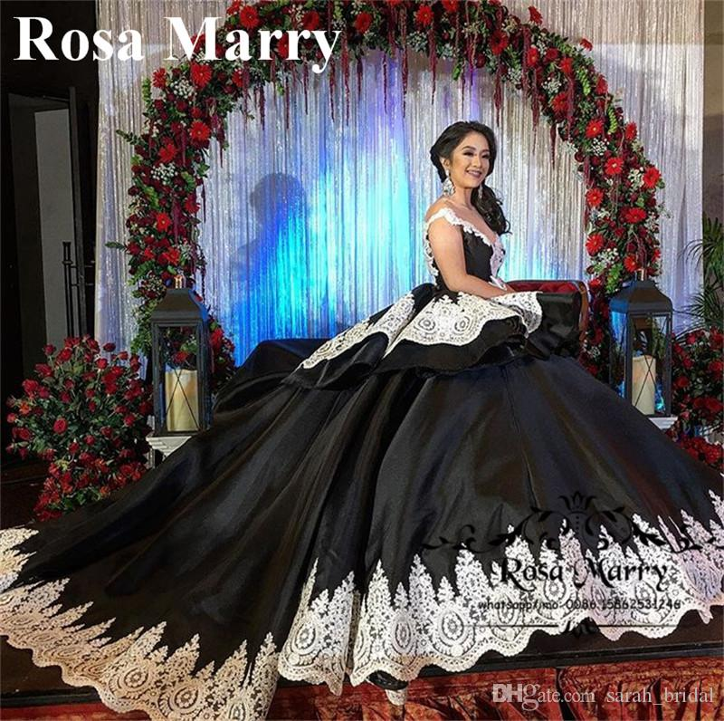 603188d87 Gothic Black Sweet 16 Masquerade Quinceanera Dresses 2018 Ball Gown ...