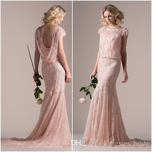 Bohe Style 2016 Wedding Dresses Rose Pink Lace Sheath Dress Bateau Neck Scalloped Blouson Cap Sleeve Backless Bridal Gown Cheap
