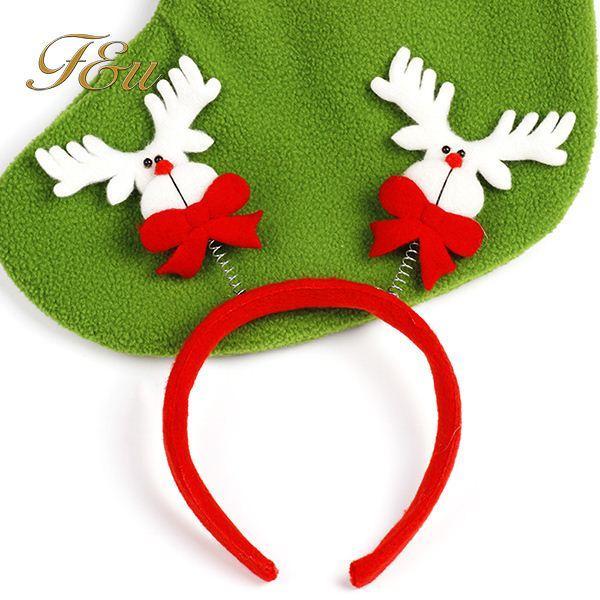 Navidad 10 unids / lote Santa Reindeer Antler Hat Deer Horn Navidad cap Envío gratis nuevo regalo Xmas14