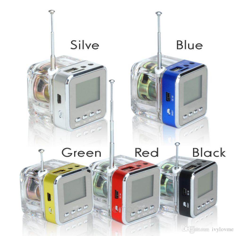 High Quality!TT028 Speaker Mini Portable Crystal LED speaker Subwoofer Micro SD Card FM Radio For iPhone 6 6S Samsung SiPod
