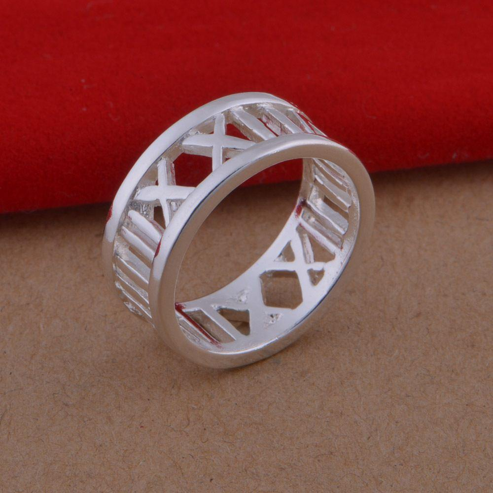 2017 925 Sterling Silver Rings Roman Numerals Wholesale Jewelry