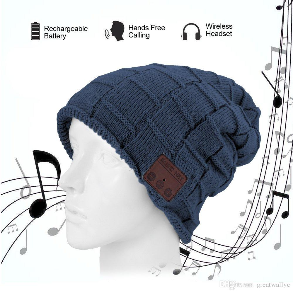 2017 New Wireless Bluetooth Headset Hat Knitted Bluetooth Cap Headphone  Warm Winter Hats Music Player Earphone Best Christmas Gift Cell Phone  Earphones With ... a05487cf7c0d