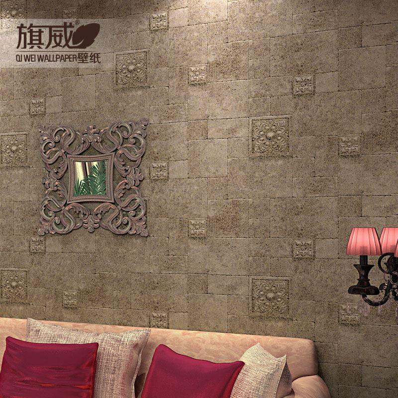 Paper Wall Tiles 3d vintage stone wall paper flag wallpaper nostalgic brick