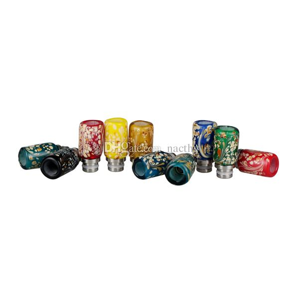 Rich Colors Colored Drawing Style Drip Tip Glass Wide Bore Drip Tips for EGO RDA DCT Protank Atomizer KGO EGO ONE Mechanical Mod
