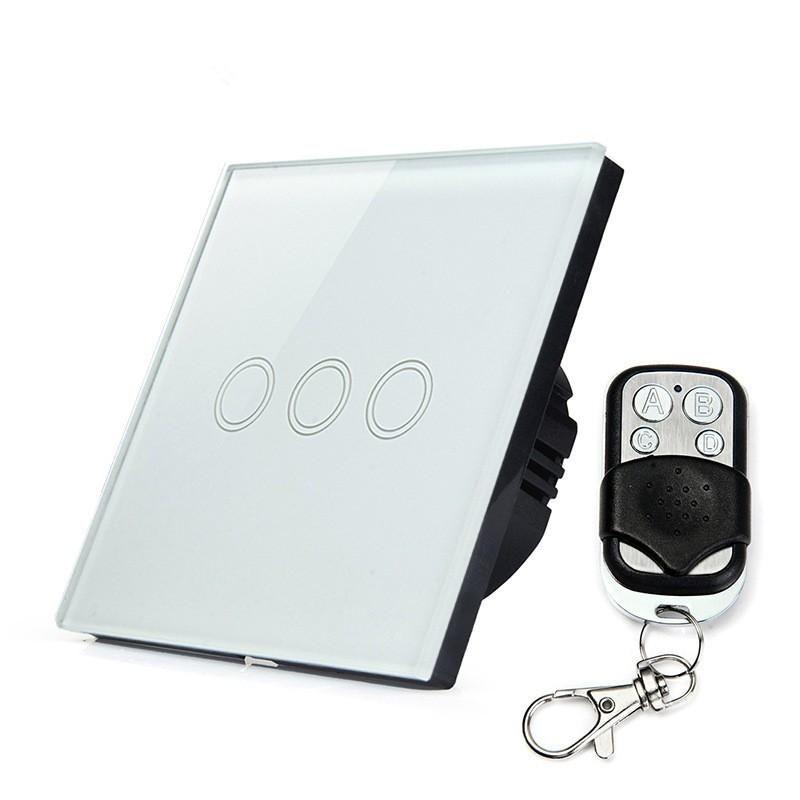 Smart Light Switch Eu Standard Wall Light Switch Glass Touch Panel 3 ...