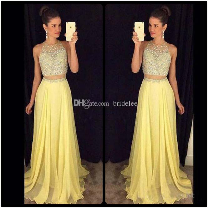 435402d6861 Glitter Beaded 2016 Light Yellow Two Piece Prom Dresses Jewel Neck Floor  Length Chiffon Party Prom Dress Vestido De Festa Longo Cheap Purple Prom  Dresses ...