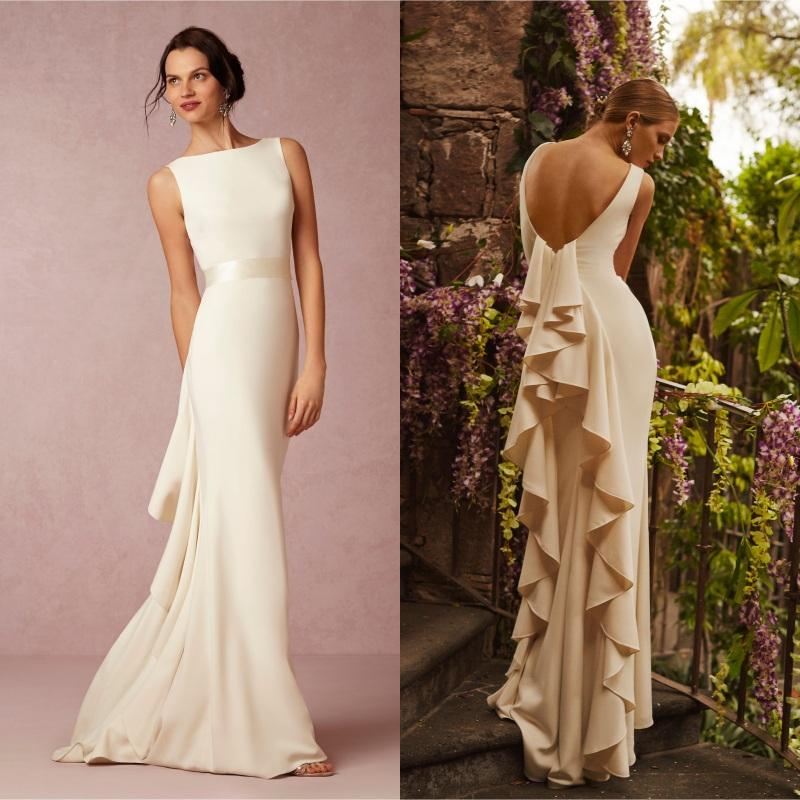 2016 Summer Beach Satin Bhldn Wedding Dress Sexy Backless Ruffles Sheath Floor Long 2015 Custom Made Country Farm Bridal Guest Gown Gowns Dresses