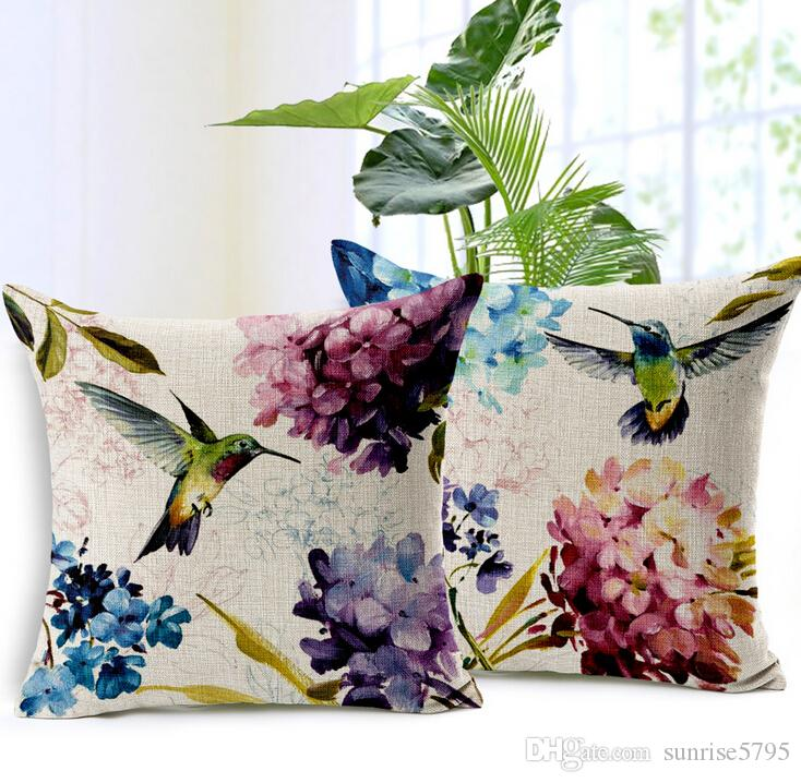 Efficient Decorative Throw Pillows Cotton Linen Feather Cushion Cover For Sofa Home Decor Almofadas 45x45cm Funda Cojines In Stock Table & Sofa Linens