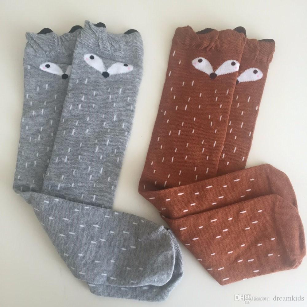 Cute Cartoon Enfants Chaussettes Animal Print Baby Cotton Kids Socks Chaussettes montantes longues Fox pour enfant en bas âge fille Vêtements Accessoires