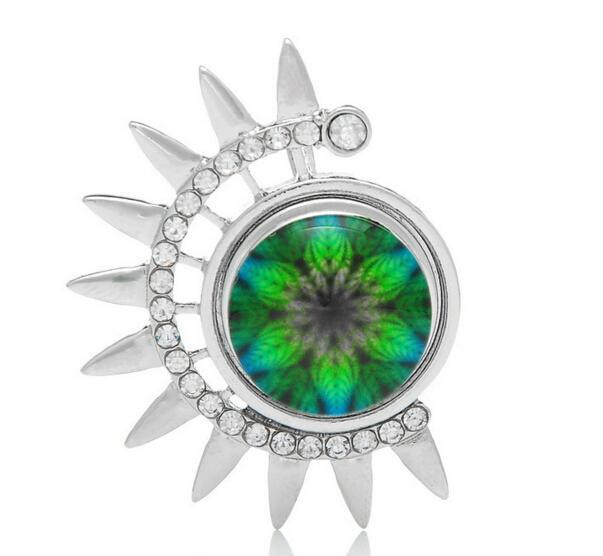 botón de bricolaje especial Girasol plateado rodio collar colgante con diamantes de imitación diy noosa botón a presión colgante jelwery accessoriess