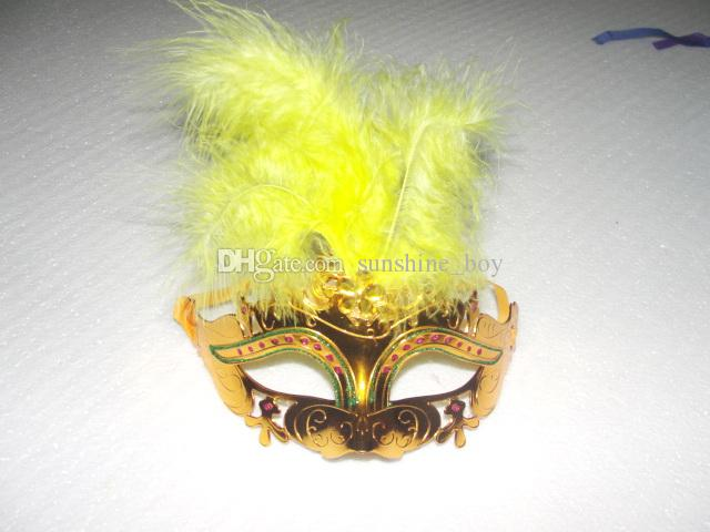 2016 new Gold powder painting feather mask venetian masquerade party decoration carnival mardi gras bar prop wedding gift mix color