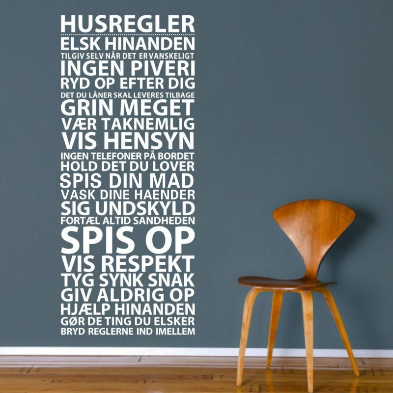 House Rules Vinyl Decals Danish Quotes Wall Stickers Mural Art for Living Room Bedroom Home Decor