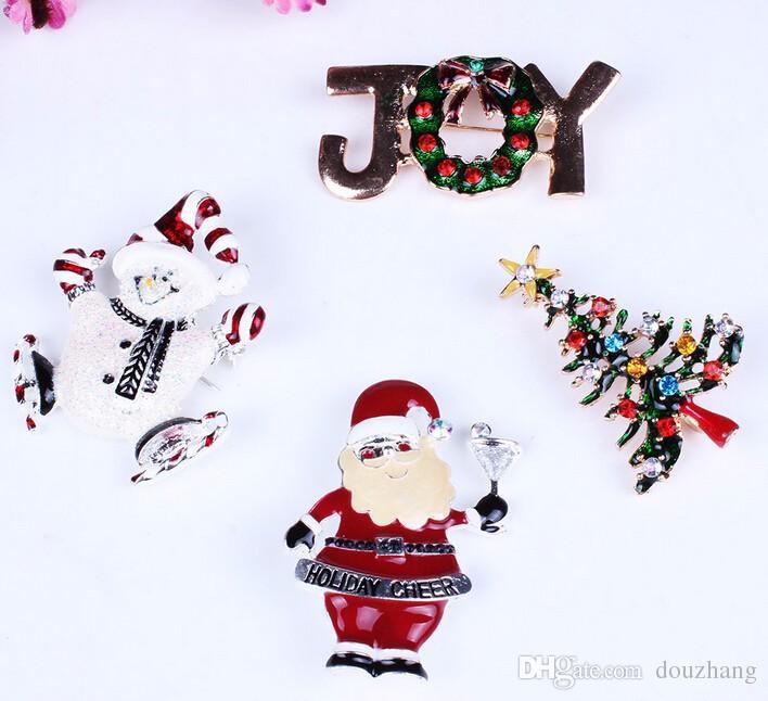 Fashion Holidays Xmas Gift Enamel Christmas Rhinestone Santa Claus Holiday Cheer Pin Brooch Wholesale