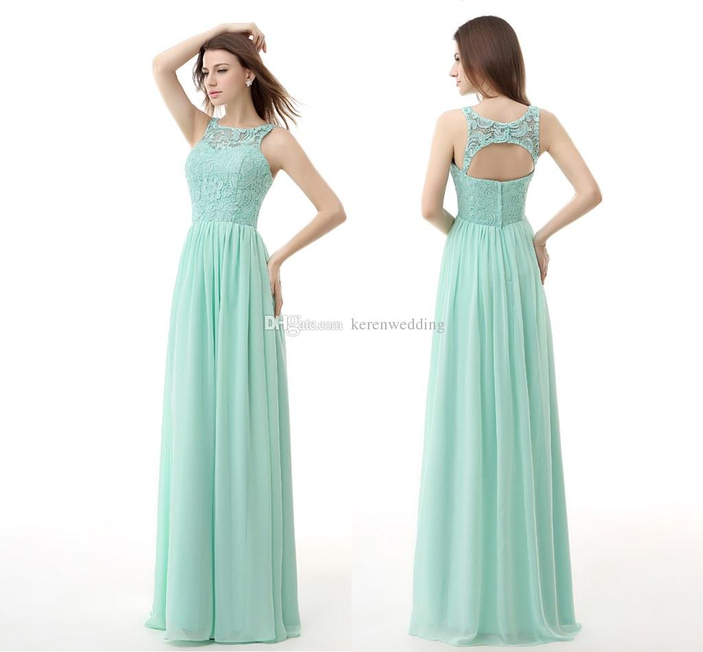 Großhandel Sheer Neck Mint Green Brautjungfernkleider 2015 ...