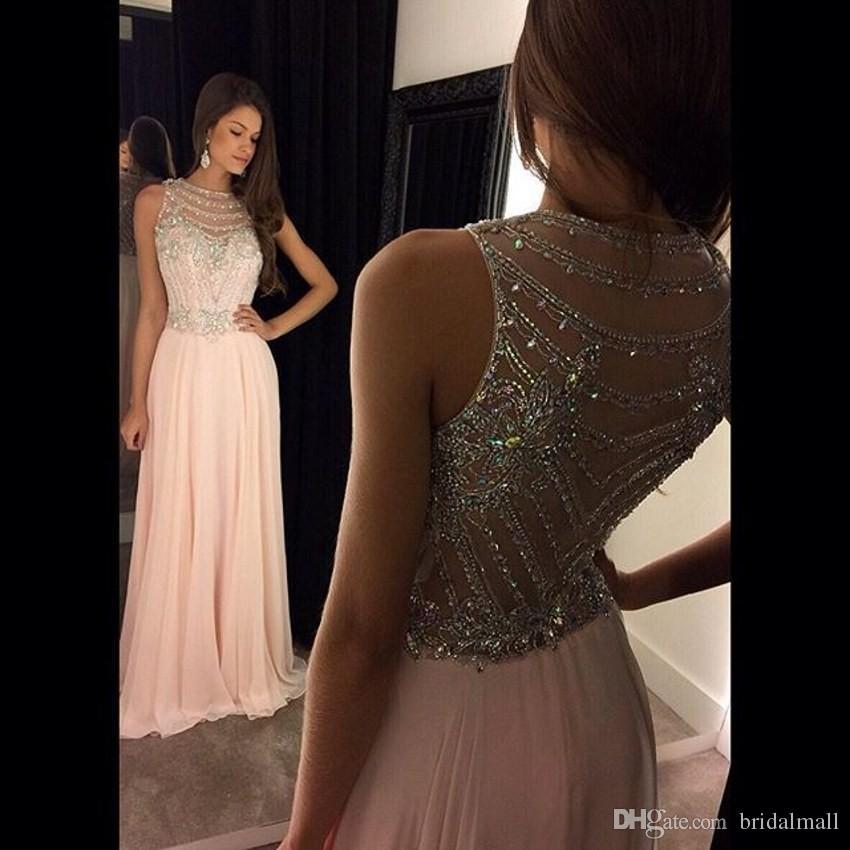 Beaded Crystal Pink Chiffon Long Prom Dresses 2019 Sheer Neck Formal Evening Gowns Floor Length Sweet 16 Party Dress Cheap Vestido de fiesta
