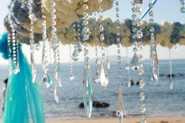 Crystal Prism Beading Hanging Ornament Crystal Octagonal Bead Curtain Garland Strands DIY Craft Party Wedding Decoration 10m