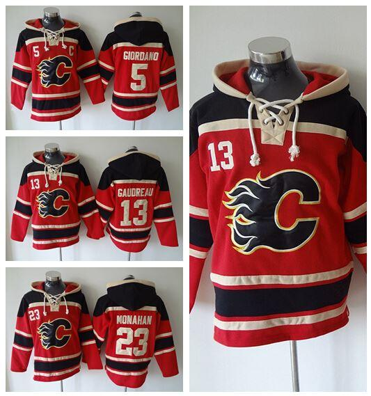 4ed65641f 2019 Cheap 23 Sean Monahan Hockey Hoodie Ice Calgary Flames Old Time Hooded  5 Mark Giordano 13 Michael Cammalleri Pullover Sweatshirt From Since, ...