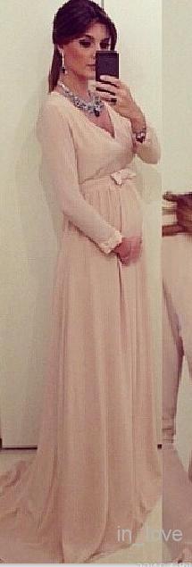 НОВЫЕ шифоновые линии вечерние платья с длинными рукавами Новые элегантные V-образным вырезом для беременных Одежда для беременных Sash Bow Специальные платья для особых случаев