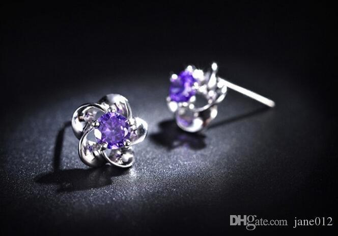 925 Sterling Silber Schmuck Ohrstecker mit Zirkon Heart Shaped Blossom Ohrringe Studs Fashion Schmuck für Verkauf Mischungsauftrag
