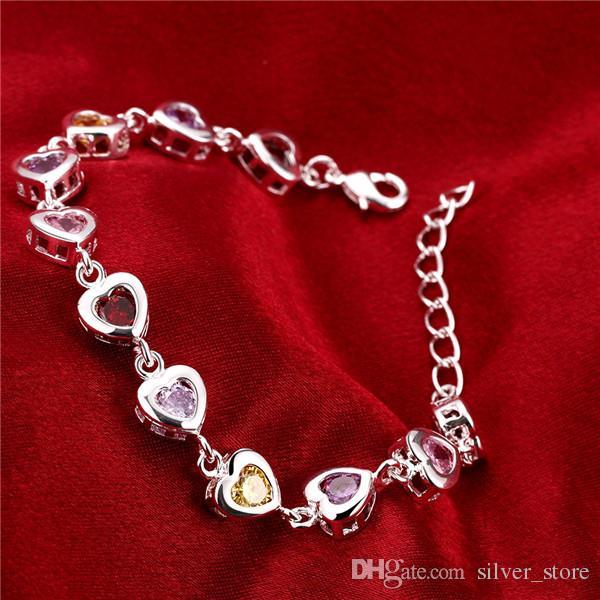 Hot natale vendita 925 argento pietre braccialetto cuore DFMCH368, nuovissimo argento placcato catena di collegamento braccialetti della pietra preziosa di alta qualità