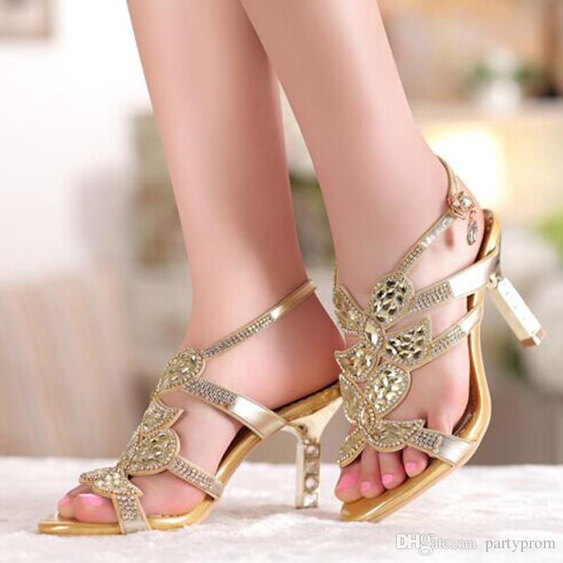 Sandalia de oro Floral Crystal Rhinestones 8 cm Tacones Altos Nuevo de alta calidad de baile de noche vestido de fiesta de las mujeres de señora nupcial zapatos de boda