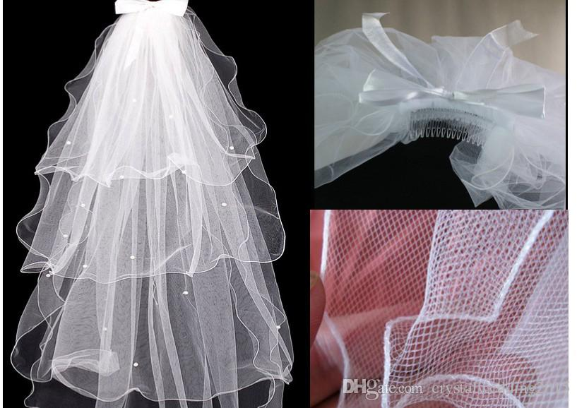 Four layers of ball gown yarn layers of the new Korean yarn bowknot veil the bride wedding veil