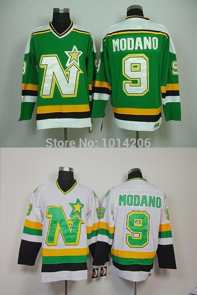 Mike Modano Minnesota North Stars Jersey Green White  9 CCM Vintage  Minnesota North Stars Jerseys Old Time Hockey Jerseys UK 2019 From Cn Sell 38d1503a079