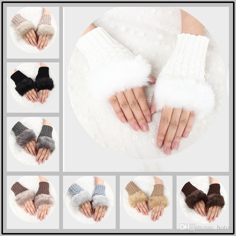 Winter Warmer Fingerless Gloves Artificial Rabbit Fur Hand Glove