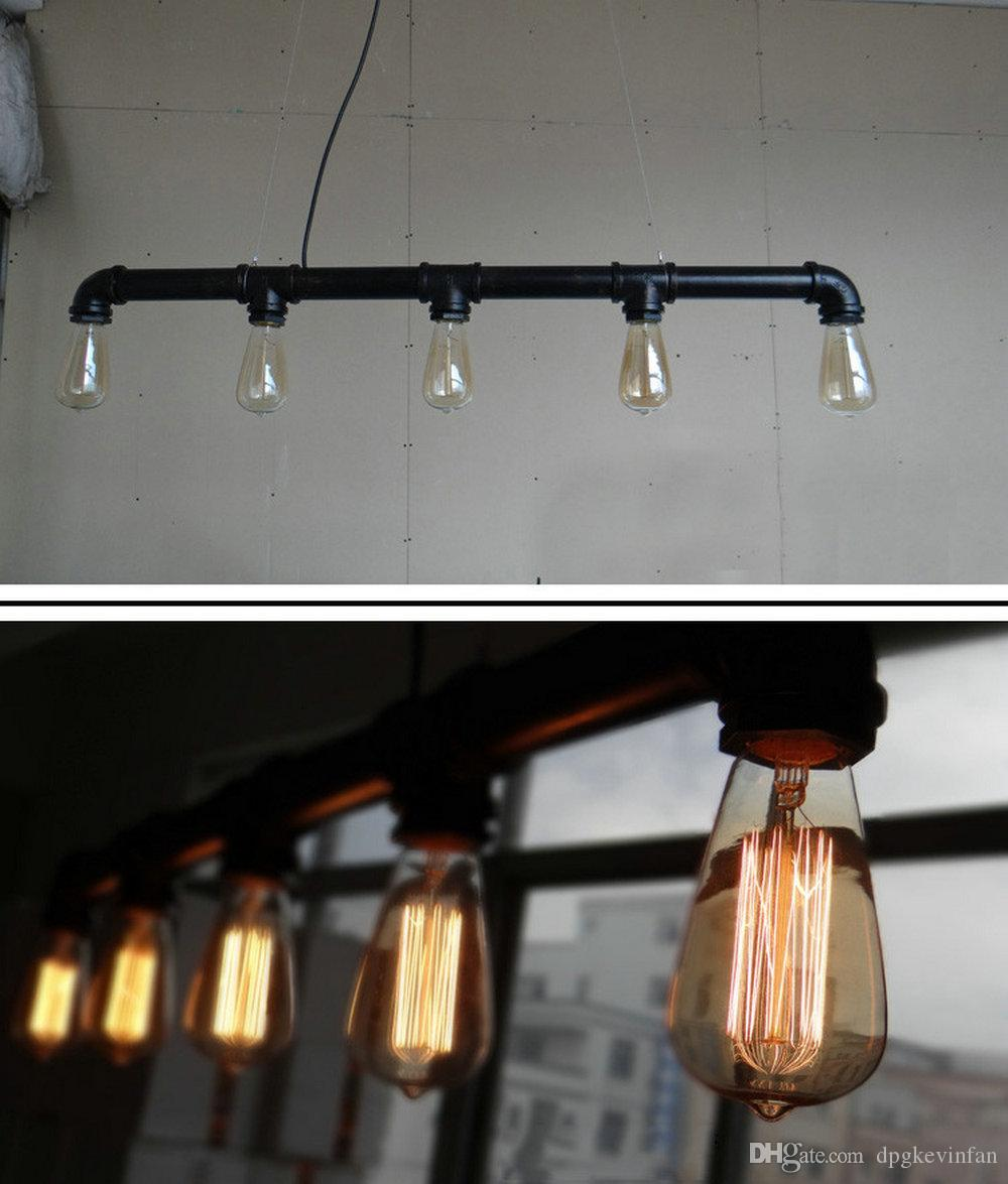 Pendant lights Artistic five heads lights Retro industrial waterpipe design lamp E27 lighting living room dining room lights