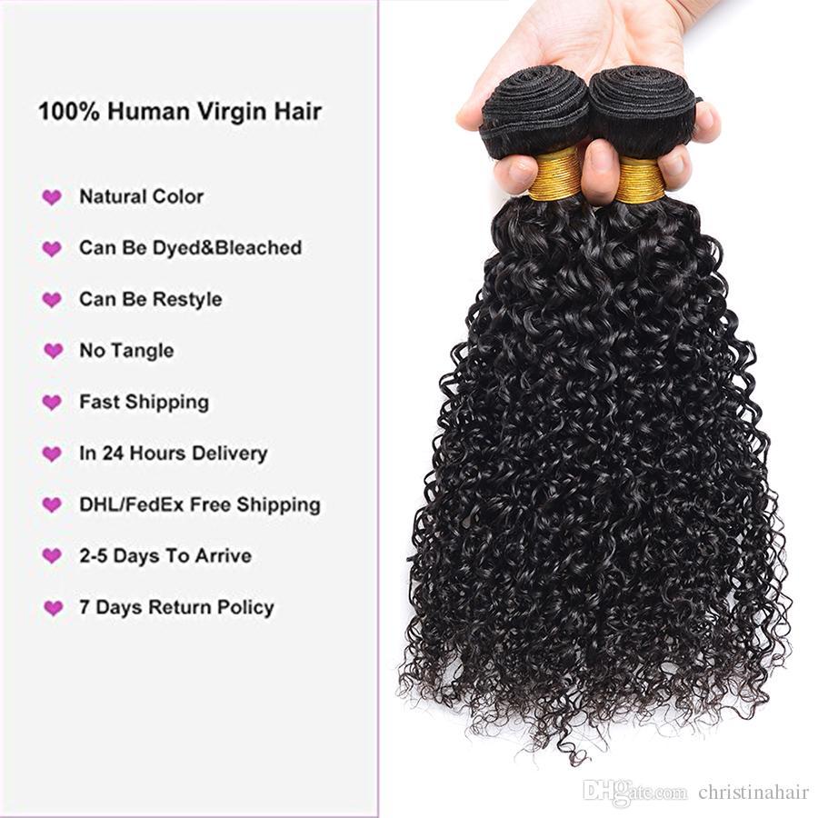Moğol Sapıkça Kıvırcık Bakire Saç 3 Demetleri Ile 1 Dantel Kapatma 100% Brezilyalı Perulu Malezya Hint Kinky Kıvırcık İnsan Saç Dantel ...