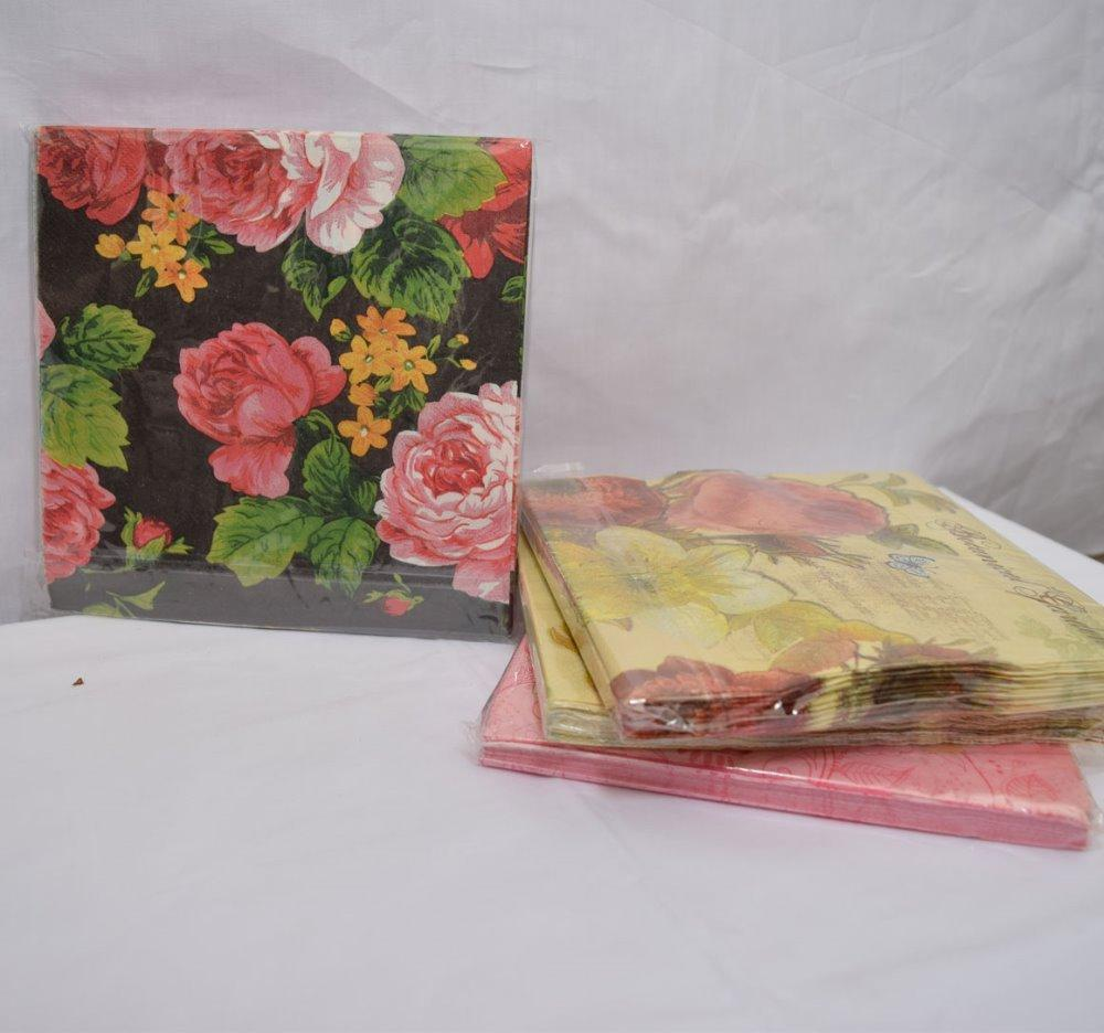 Medium Food Grade Romantic Flower Pattern Paper Napkin Festiveparty