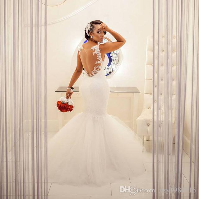 South Africa Mermaid Wedding Dresses Spaghetti Straps Lace Appliques Sexy Long Wedding Gowns Charming Sheer Back Floor Length Bridal Gowns
