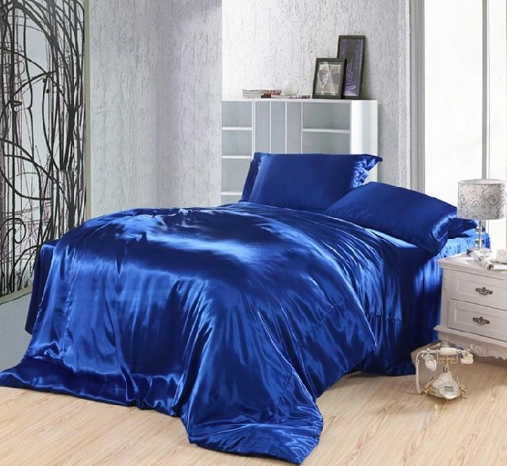 Royal Blue Duvet Covers Bedding Set Silk Satin California King Size