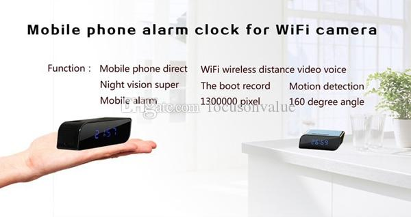 HD 720P WIFI ساعة مصغرة كاميرا IP LIVE عرض 160 ° Clock DVR P2P Motion Activated Video Recorder Security Camcorder for Android IOS App