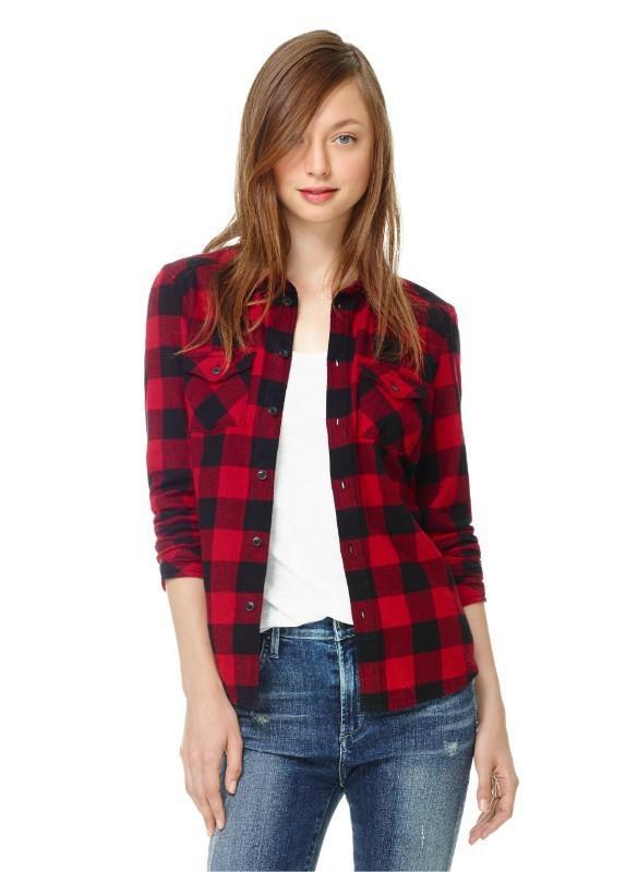2017 1510 2015 Autumn Laides Black Red Flannel Plaid Shirt Women Blouses  Cotton Tops For Women Clothing Brand Blusas Femininas Outwear From  Bigbangtop, ... - 2017 1510 2015 Autumn Laides Black Red Flannel Plaid Shirt Women