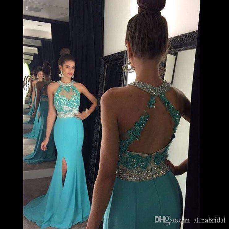 빨간 높은 목 인 어 공주 댄스 파티 드레스 2016 아플리케 레이스 쉬폰 사이드 분할 크리스탈 파란색 된 공식적인 저녁 파티 미인 대회