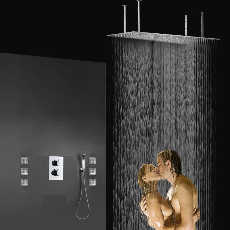 Big Ceiling Mounted Shower Set 400x800mm Shower Head With