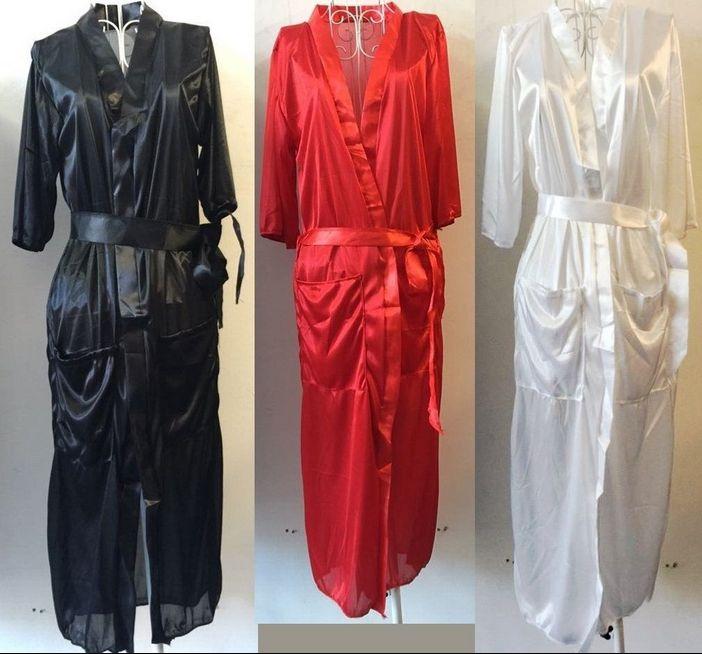 Sexy Frauen lange Seide Kimono Morgenmantel Bademantel Babydoll Dessous Nachthemd
