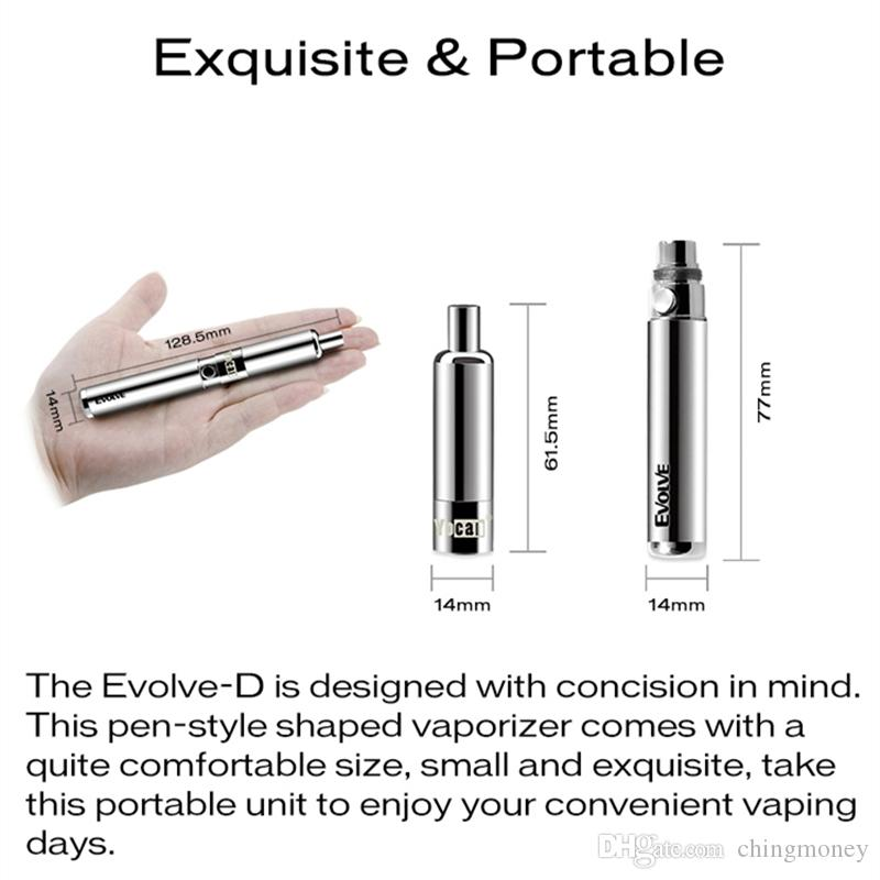 100% Original Yocan Evolve-D Starter Kit dry herb pen Vaporizer with Pancake Dual Coils 650mAh Battery ego thread atomizer vape pen DHL free