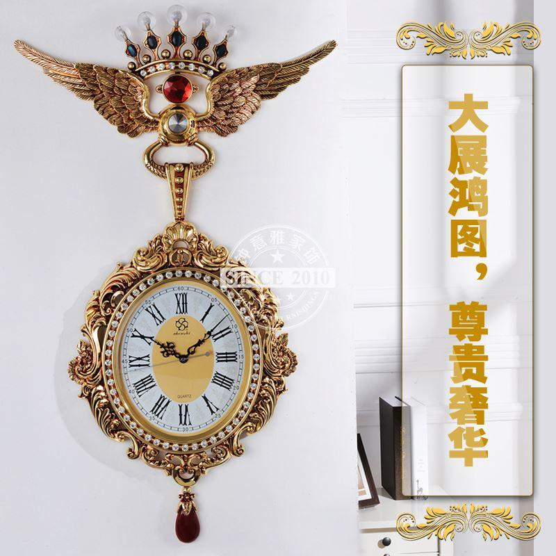 High End Wall Clocks Living Room Metal Ornament Luxury Wall Clock ...