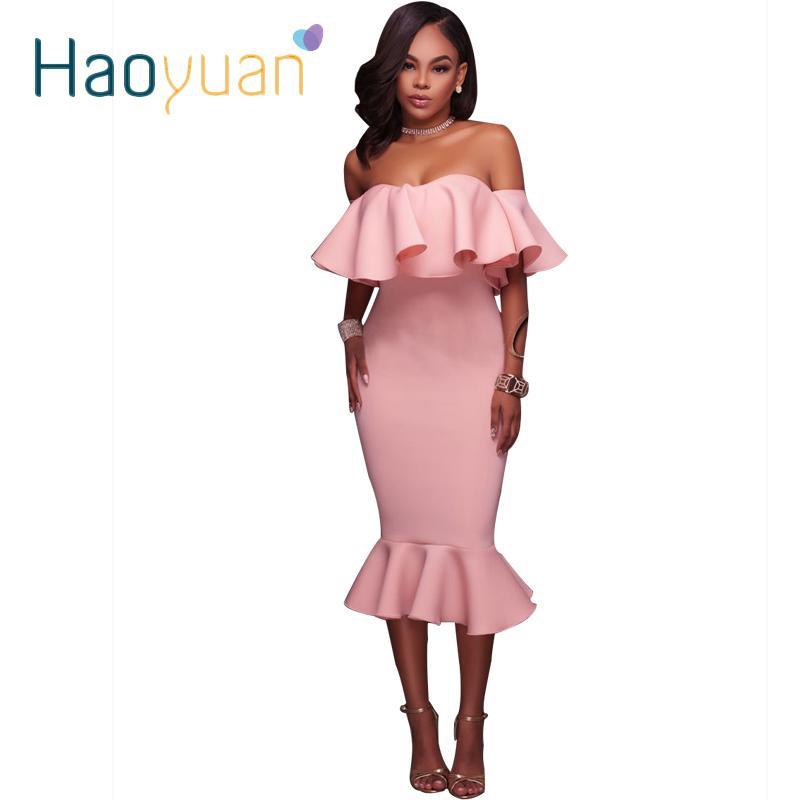 Compre Haoyuan Con Volantes Vestido Ajustado Hombro Túnica Mujeres ...